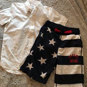 Gap Kids size 6/7. Shirt NWT. Shorts gently used.